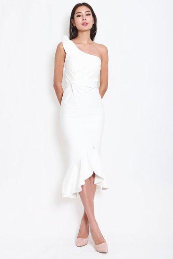 *Premium* Twist Toga Ruffle Dress (White)