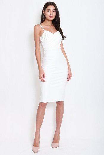 *Premium* Pleated Overlap Midi Dress (White)