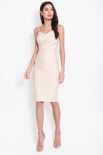 *Premium* Pleated Overlap Midi Dress (Ivory)