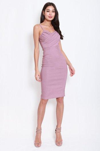 Pleated Overlap Midi Dress (Lavender)