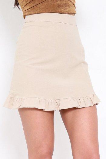 Mermaid Frill Linen Skirt (Ivory)