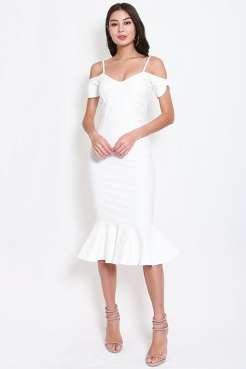 *Premium* Bow Sleeve Mermaid Dress (White)