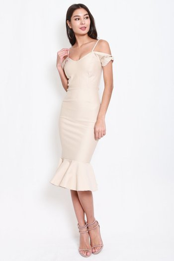 *Premium* Bow Sleeve Mermaid Dress (Ivory)