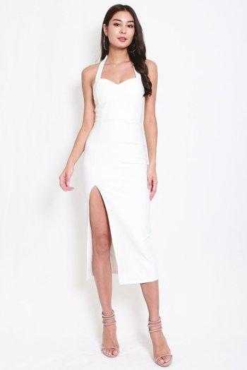 *Premium* Sweetheart Halter Midi Dress (White)