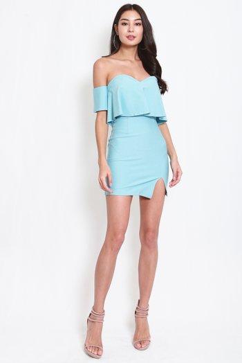 *Premium* Sweetheart Off Shoulder Tube Dress (Tiffany Blue)