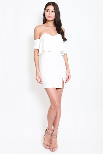 *Premium* Sweetheart Off Shoulder Tube Dress (White)