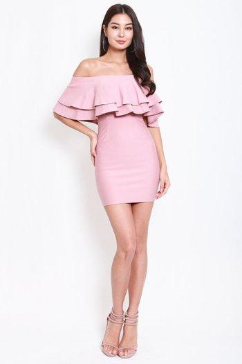 *Premium* Double Flutter Tube Dress (Light Pink)