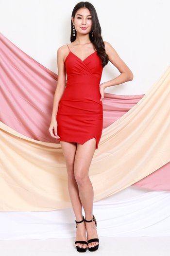 *Premium* Thin Strap Overlap Slit Dress (Red)