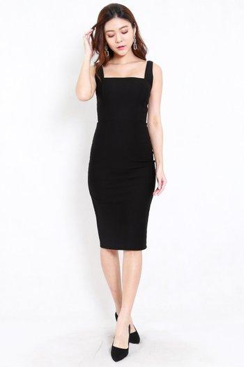 *Premium* Square Neck Midi Dress w/o Slit (Black)