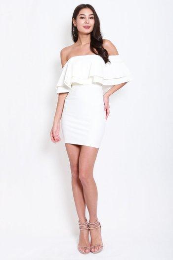*Premium* Double Flutter Tube Dress (White)
