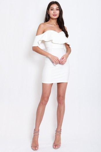 *Premium* Sweetheart Ruffle Tube Dress (White)