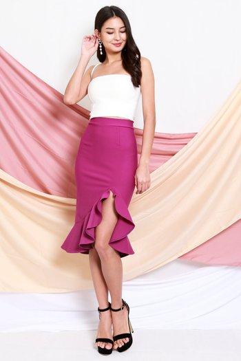 *Premium* Ruffle Slit Midi Skirt (Magenta)
