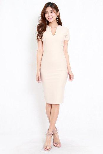 *Premium* V Cut Midi Dress (Ivory)