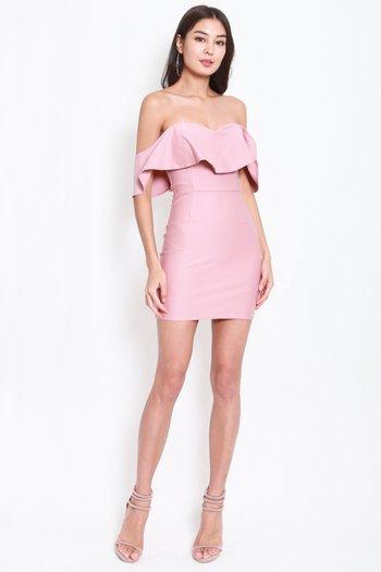 *Premium* Sweetheart Ruffle Tube Dress (Light Pink)