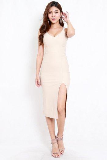 *Premium* V Neck Slit Midi Dress (Ivory)