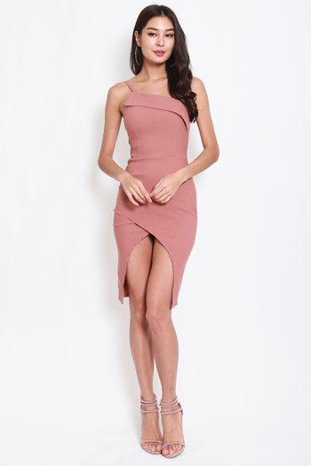 Overlap Toga Slit Dress (Tan-Nude)