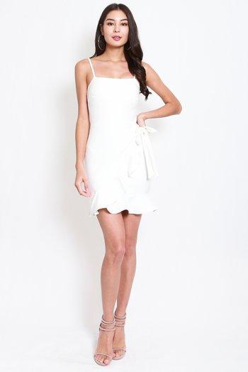 *Premium* Ribbon Overlap Mermaid Dress (White)