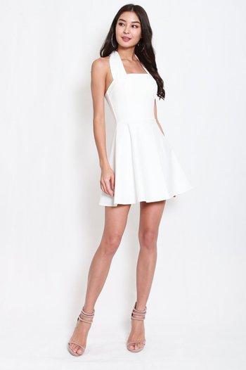 *Premium* Bow Halter Skater Dress (White)