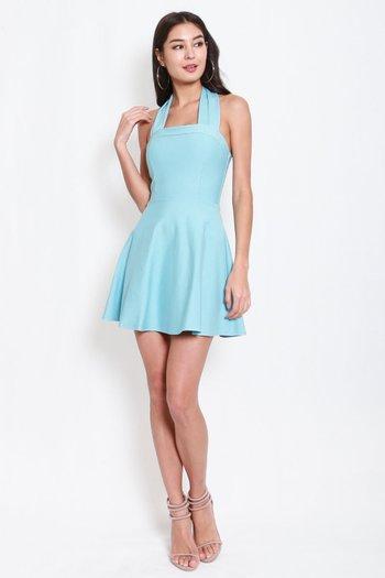 *Premium* Bow Halter Skater Dress (Tiffany Blue)