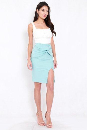 *Premium* Twist Knot Midi Skirt (Tiffany Blue)