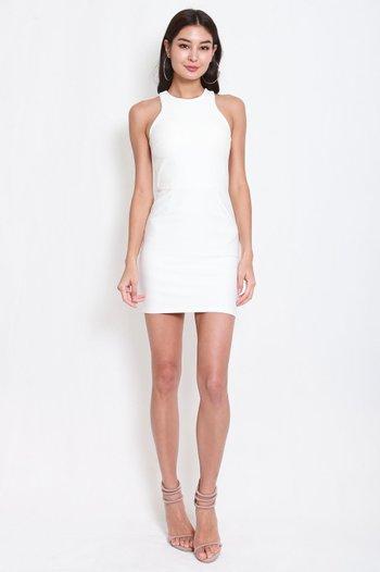 *Premium* Basic Cut In Dress (White)
