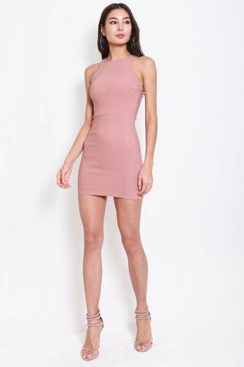 Basic Cut In Dress (Tan-Nude)
