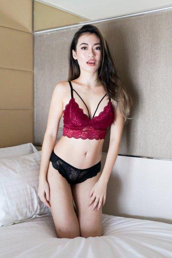 Lace Hem V Bralette (Maroon)