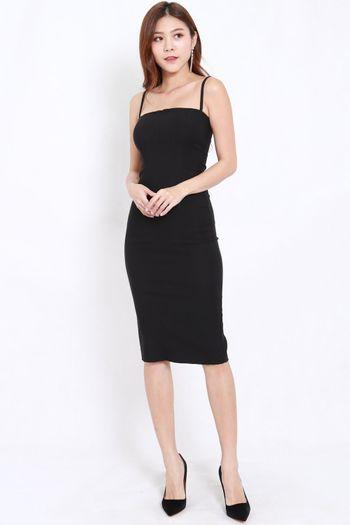 Classic Midi Spag Dress (Black)