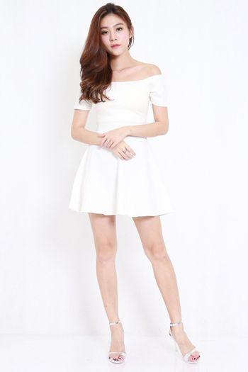 *Premium* Off Shoulder Skater Dress (White)