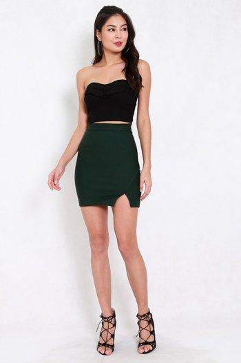 *Premium* Slit Bandage Skirt (Forest Green)