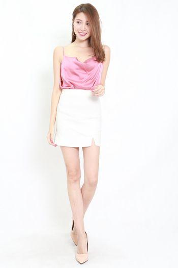 Satin Cowl Neck Top (Dark Pink)
