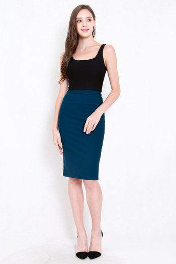 *Premium* Pencil Midi Skirt (Teal)