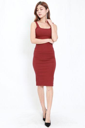 Scoop Neck Midi Dress (Maroon)
