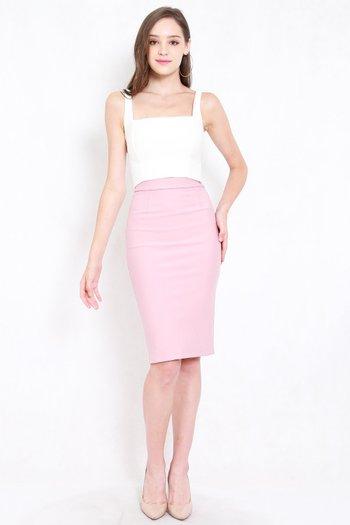 *Premium* Pencil Midi Skirt (Light Pink)