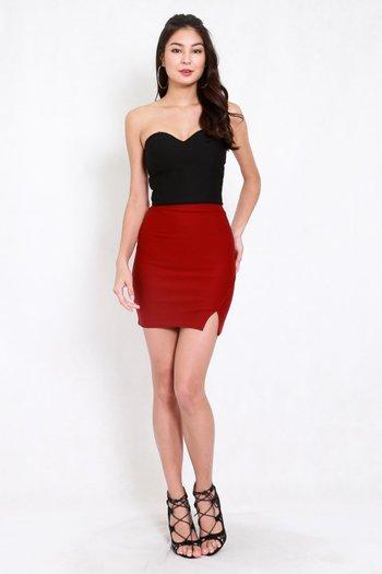 *Premium* Slit Bandage Skirt (Maroon)