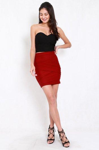 *Premium* Criss Cross Bandage Skirt (Maroon)