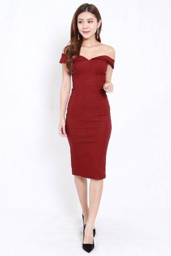 Sweetheart Midi Dress (Maroon)