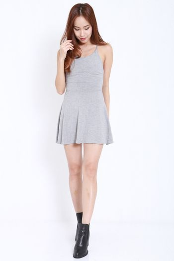 Tie Back Skater Dress (Light Grey)