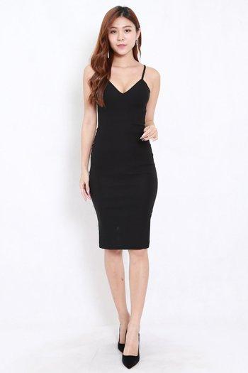 V Neck Midi Spag Dress (Black)