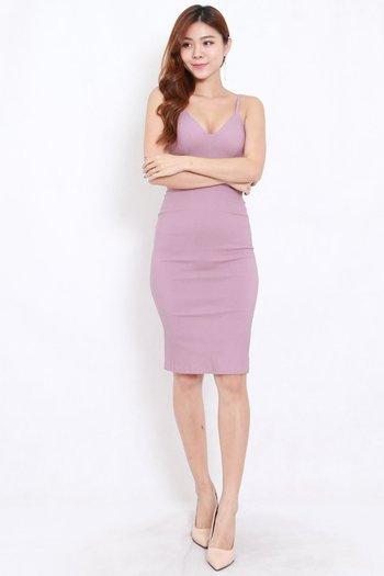V Neck Midi Spag Dress (Lavender)