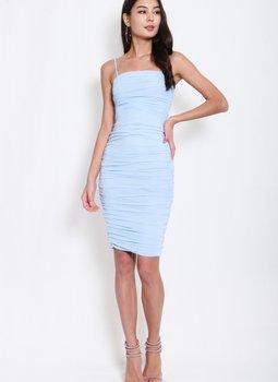 Mesh Classic Midi Dress (Baby Blue)