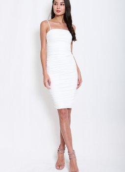 Mesh Classic Midi Dress (White)