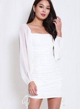 Mesh Drawstring Ruch Dress (White)