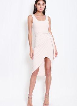 Scoop Neck Wrap Dress (Nude)