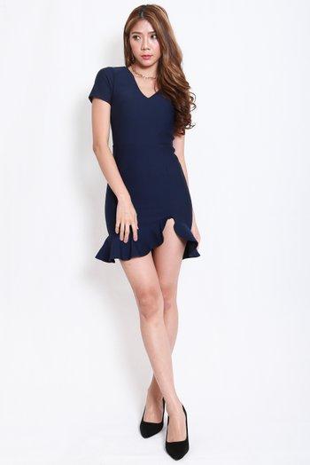 *Premium* V Neck Mermaid Slit Dress (Navy)