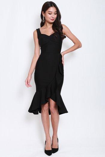 *Premium* Sweetheart Ruffle Mermaid Midi Dress (Black)