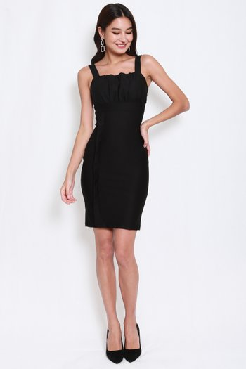 *Premium* Side Panel Ruch Midi Dress (Black)