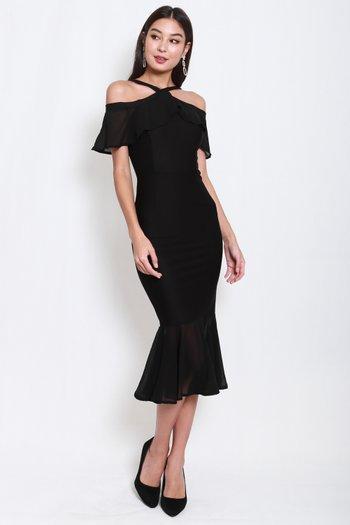 *Premium* Off Shoulder Mermaid Midi Dress (Black)
