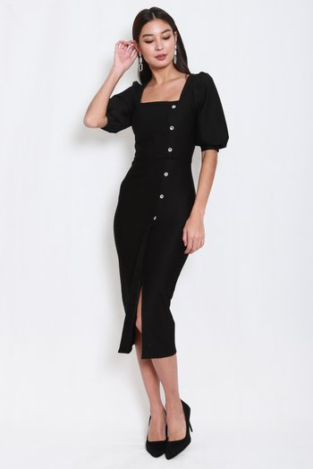 *Premium* Balloon Sleeve Midi Dress (Black)