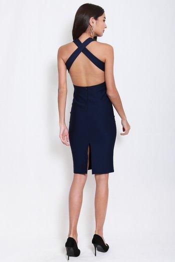 *Premium* High Neck Cross Back Midi Dress (Navy)